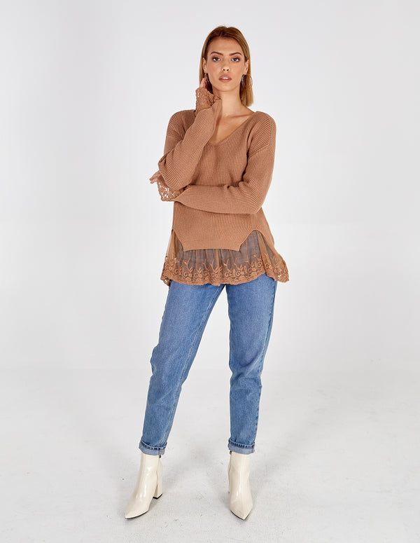 RENAE V NECK JUMPER WITH LACE