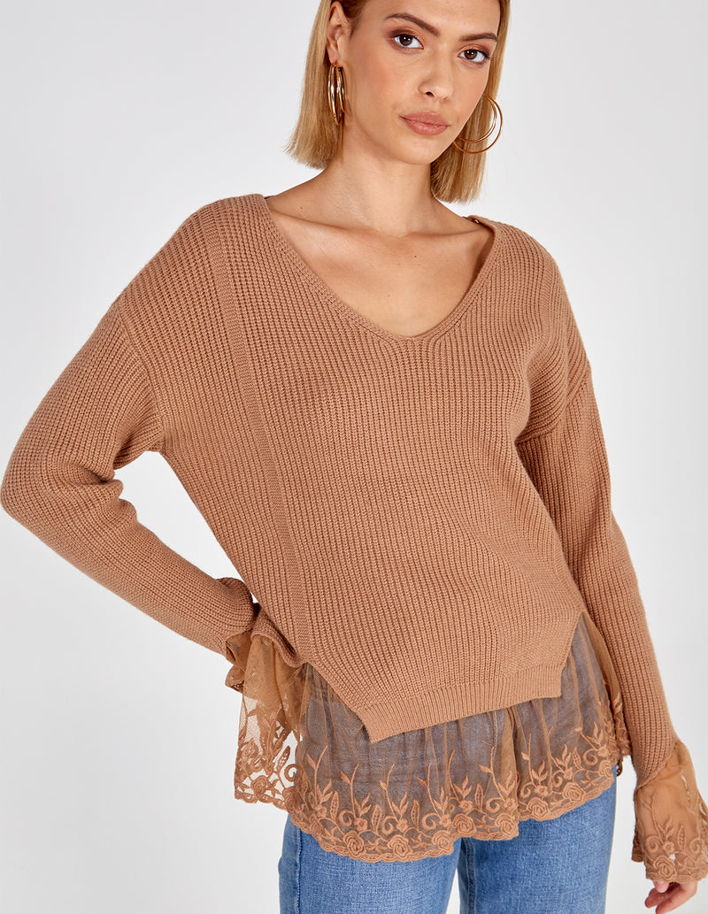RENAE - V Neck Lace Detail Jumper