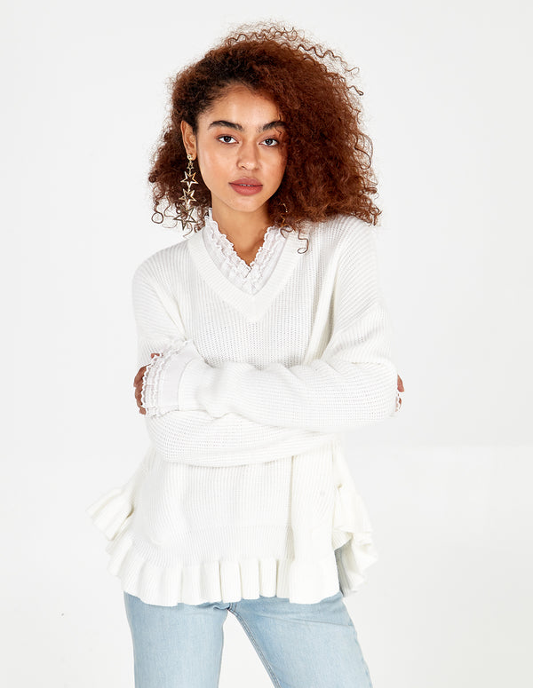 GEORGIANA - V Neck Ruffle Detail Jumper