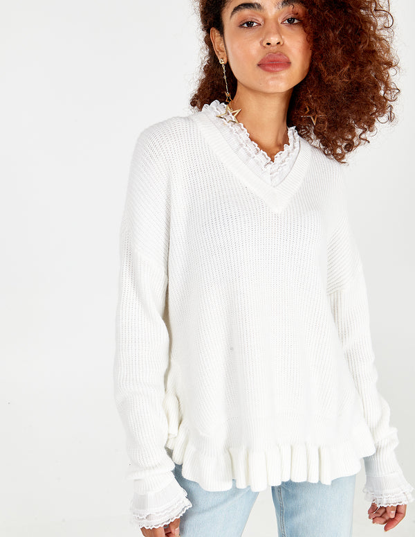 GEORGIANA - V Neck Jumper With Ruffles