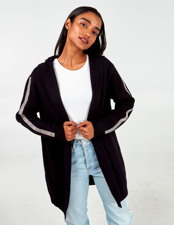 INDI - Diamante Sleeve Hooded Cardigan