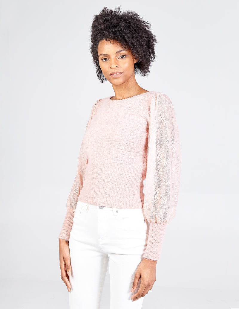 KATRINA - Floral Lace Puff Sleeve Jumper