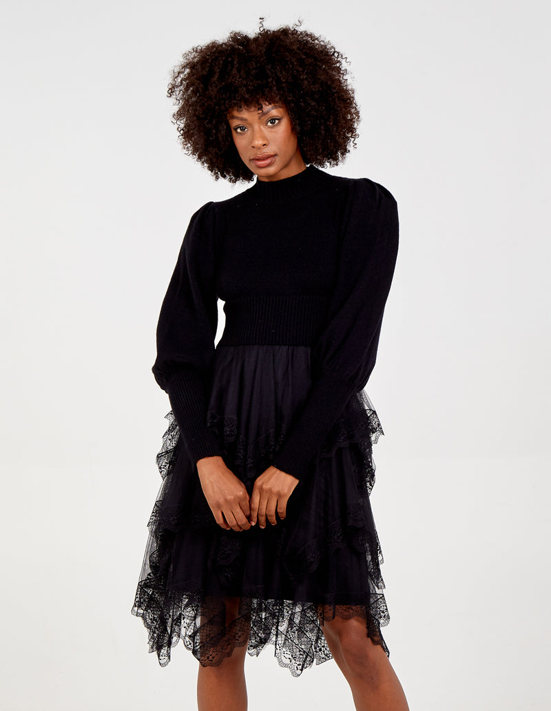 KATHERINE - High Neck Puff Sleeve Mesh Trim Jumper