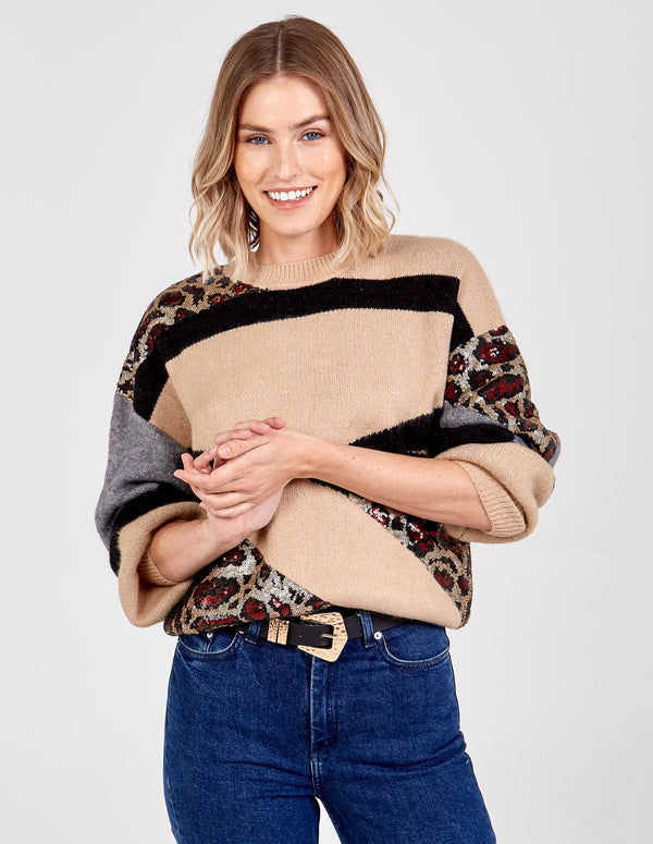 PALOMA - Combo Colour Sequin Patch Jumper