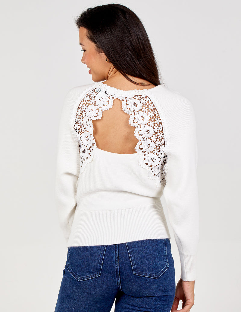 DARCY - Batwing Open Back Lace Jumper