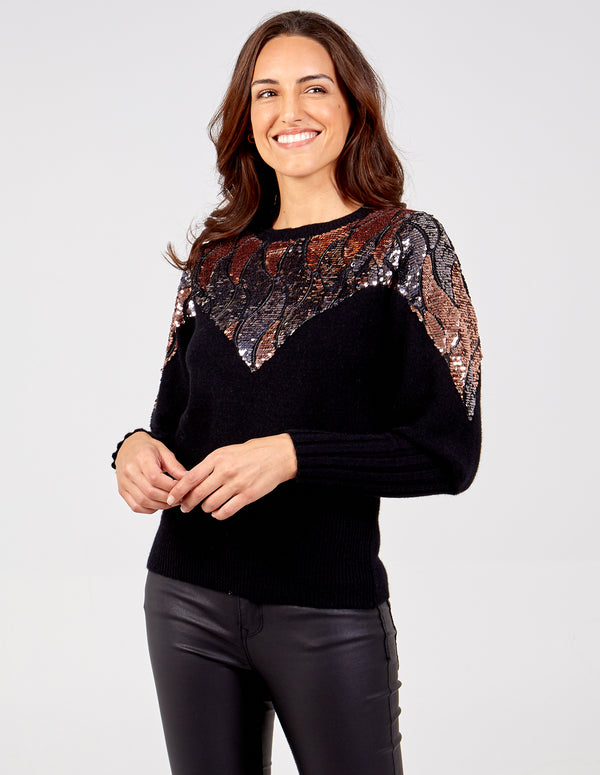 FAYE - Sequin Swirls Balloon Sleeve Jumper