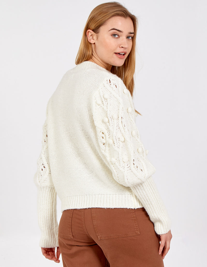 JOANNE - Puff Sleeve Embroidered Cable Jumper