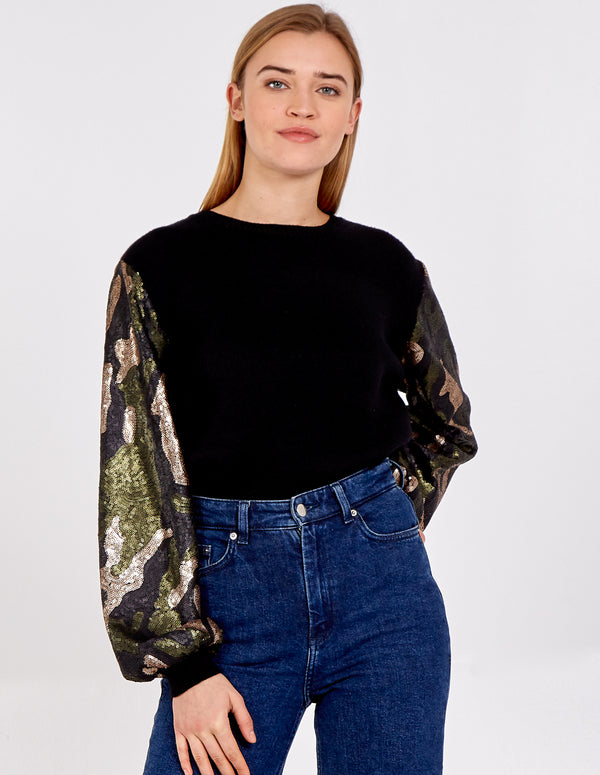 DESTINY - Camo Sequin Sleeve Jumper