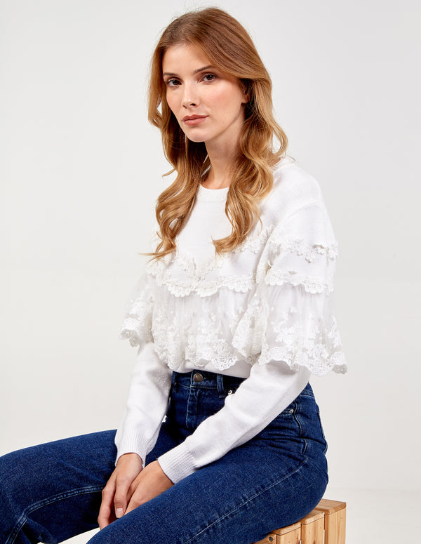 MARWAH - Lace Front and Sleeves Trim Jumper