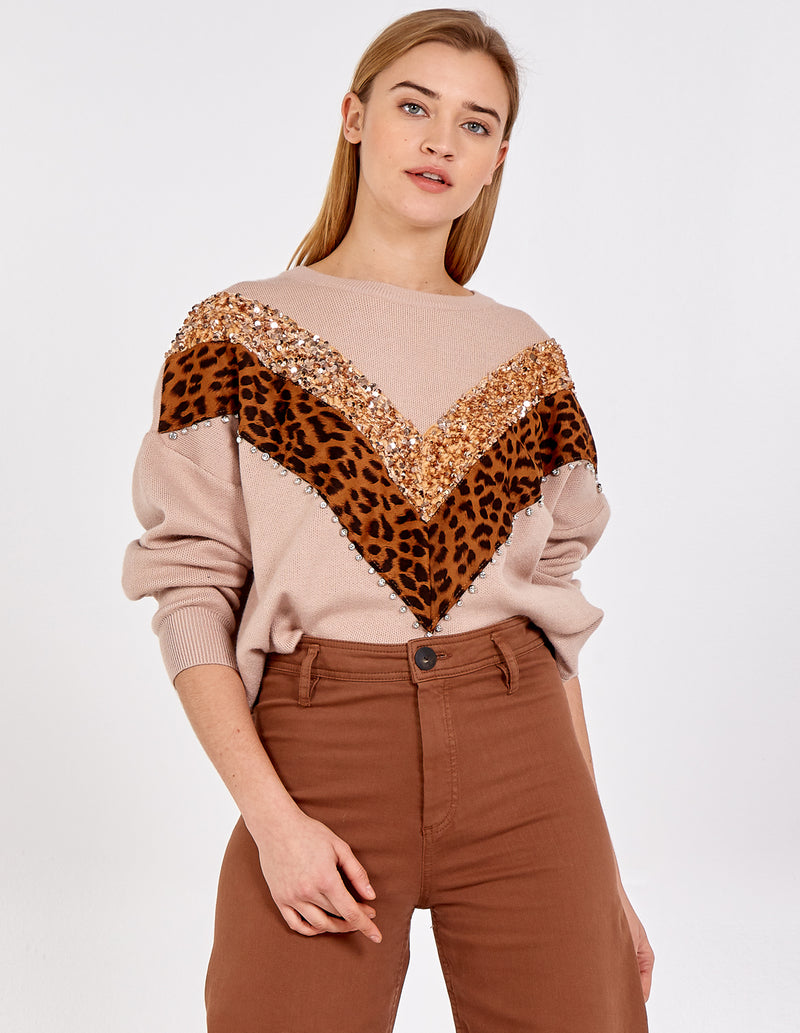 WILLOW - Sequin Animal V Shape Trim Jumper