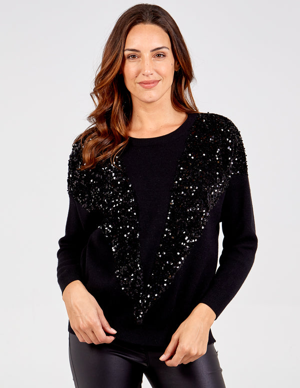 KYLA - Sequin V Shape Front Jumper