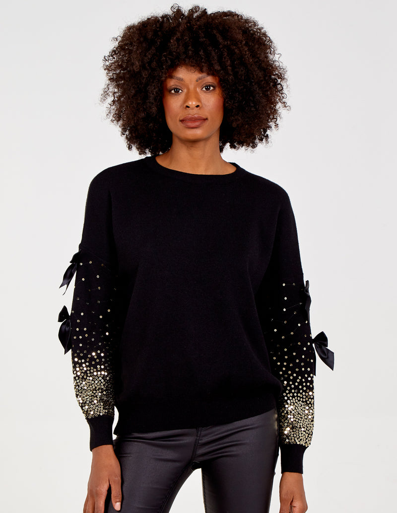FREYA - Sequin and Bow Trim Sleeves Jumper