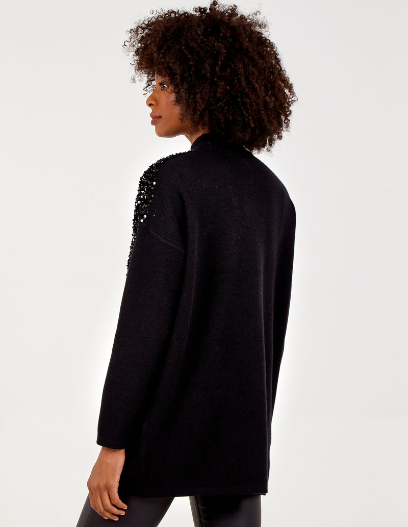 MARTYNA - Sequin V Front Trim Oversized Jumper