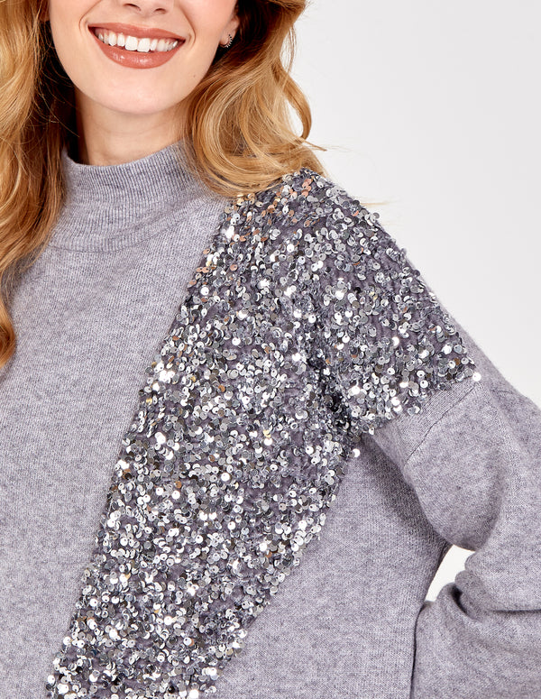 MARTYNA -Sequin V Front Trim Oversized Jumper