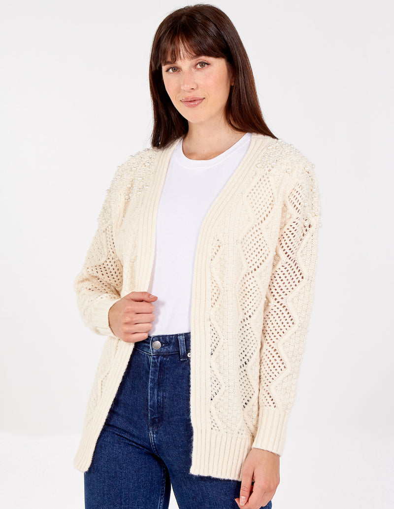 CHRISTINA - Pearl Shoulder Cable Knit Cardigan