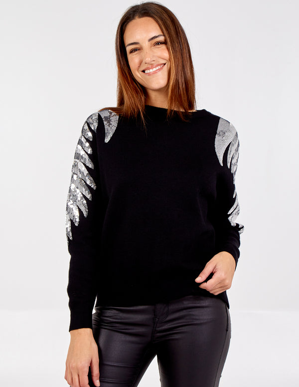 ANNABELLA - Sequin Wings Sleeves Jumper