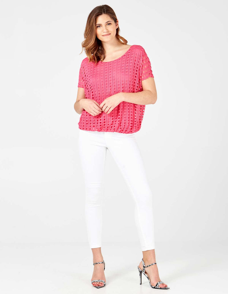 VADA - Cutwork Elasticated Pink Top