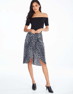 MAESEN - High Waisted Tie Front Grey Animal Print Skirt