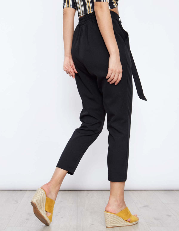 FANYA - Tie Front Black Tailored Trousers