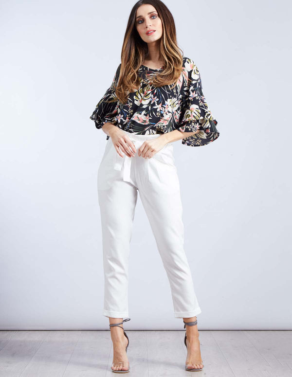CARINA - Paperbag Waist White Cropped Trousers