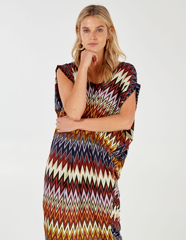 BIRDIE - Zig Zag Batwing Oversized Dress