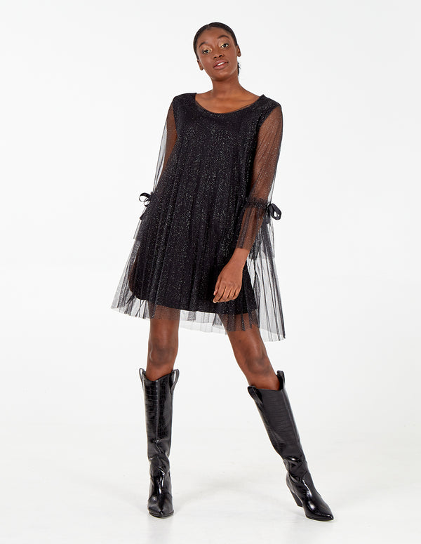 CARINA - Long Sleeve Pleated Sparkling Dress