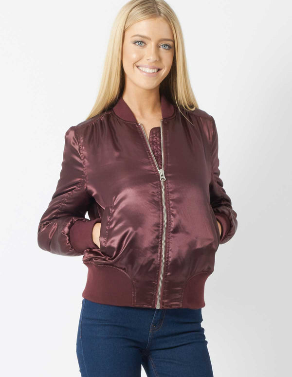 CLEO - Oxblood Satin Bomber Jacket
