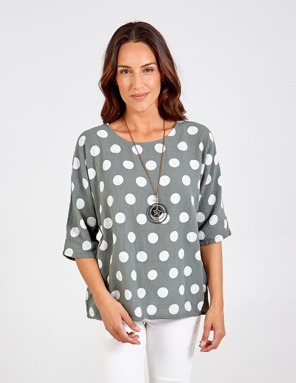 JANA - Spotted Linen Necklace Top