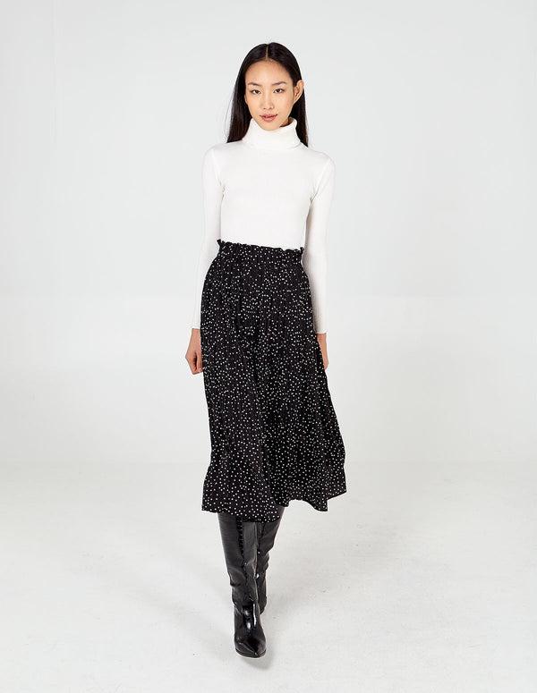 TERESA - Ditsy Polka Dot Black Pleated Skirt
