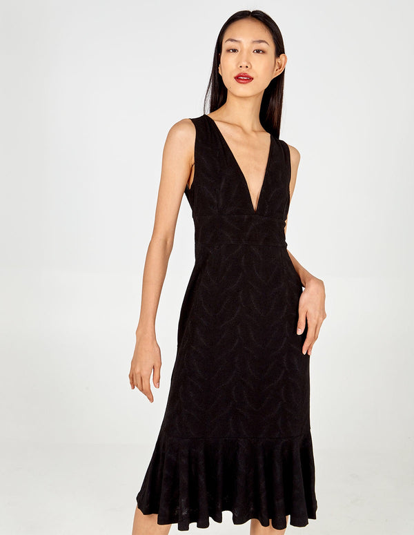 RIYA - Deep-V Fish Tail Midi Dress