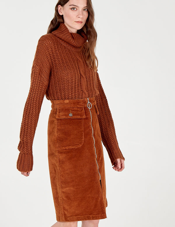 ROXANNE - Corduroy Zip Trough Midi Skirt