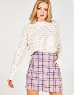 NOLWEN - Check Pink Mini Skirt