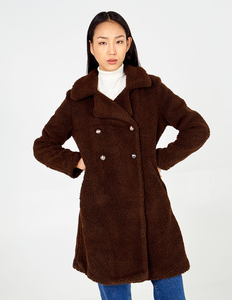 BETSY - Double Breasted Chocolate Teddy Coat