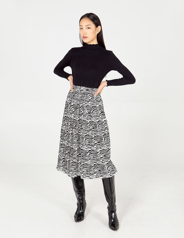 SANSA - Black & White Zebra Print Pleated Skirt