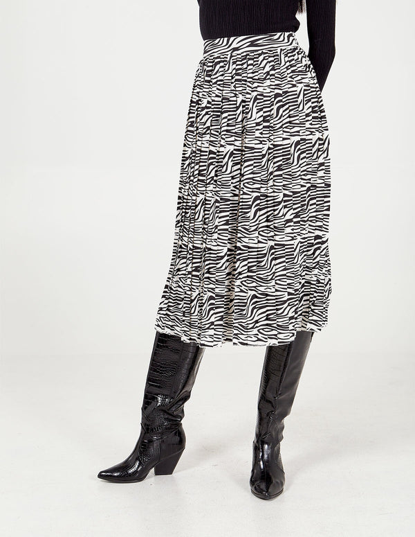 SANSA - Black &White Zebra Print Pleated Skirt