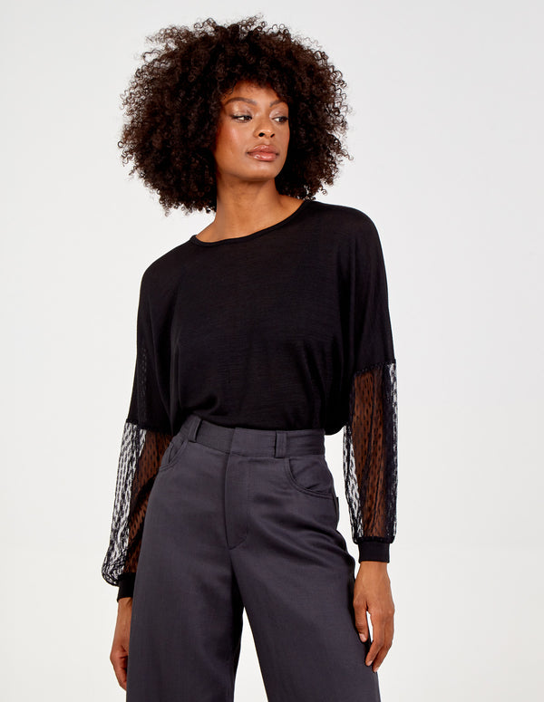 TONIA - Mesh Puff Sleeve Batwing Top