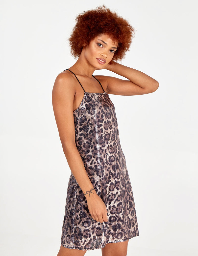 AUHRA - Sequin Animal Print Cami Dress