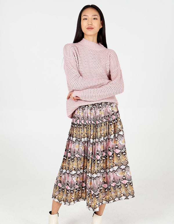 KOMAL- Pink Snake Pleated Midi Skirt