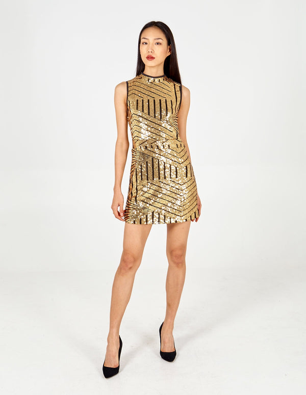 TESLA - Gold Sleeveless Mini Sequin Dress