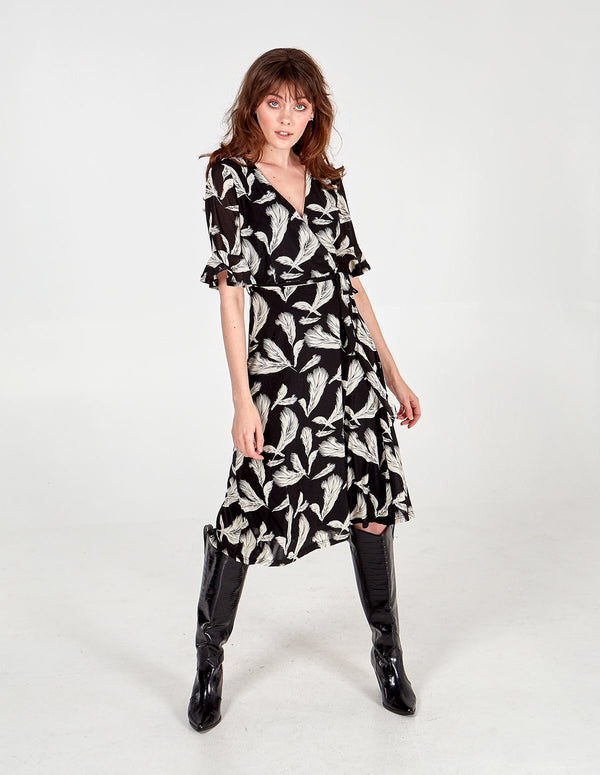 TAMARA - Feather Print Frill Sleeve Wrap Midi Dress