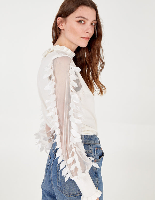 DAISY - Leaf Mesh Sleeve High Neck Jumper