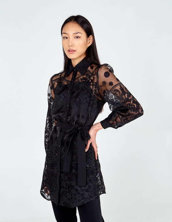 DANA - Balloon Sleeve Sheer Pattern Shirt Dress