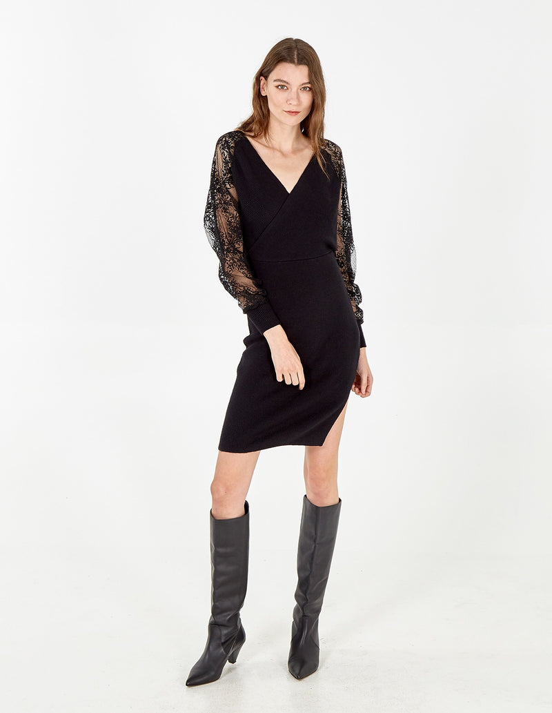 ELLE - Balloon Sleeve V Neck Dress