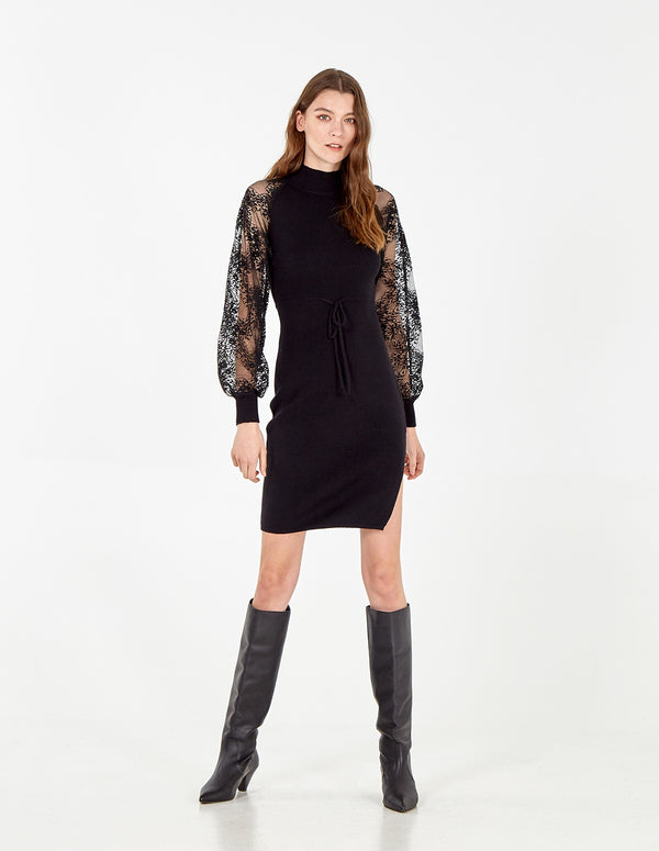 AMAYAH - Balloon Sleeve Knited Dress