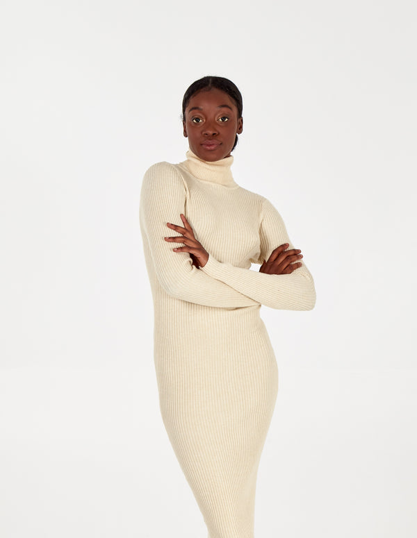 AYDA - Roll Neck Knitted Midi Stone Dress