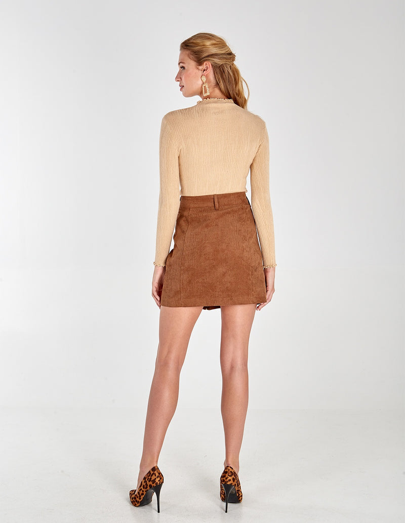EMELIA - Tan  Zip Front Cord Skirt