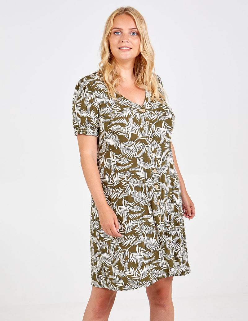 ELISHA - Curve Puff Sleeve Button Front Tea Dress