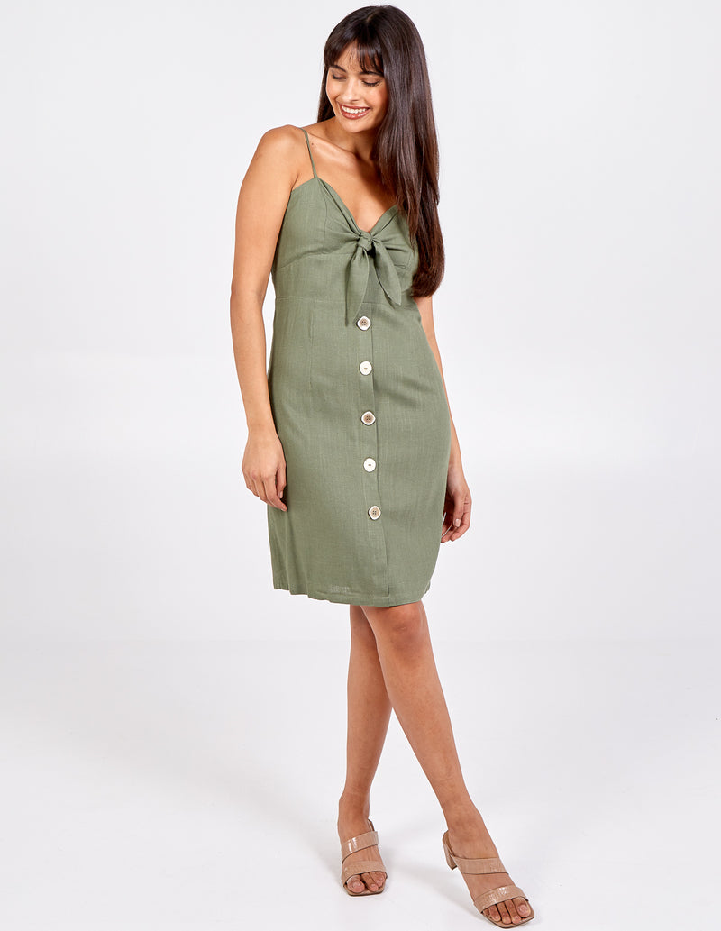 ELSPETH - Tie Front Button Mini Dress