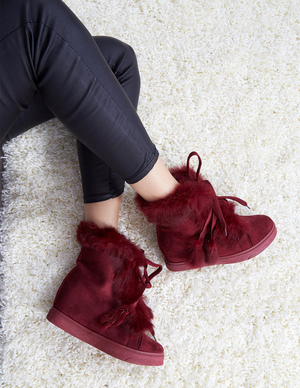 TISA - Faux Fur Burgundy Wedge Trainers