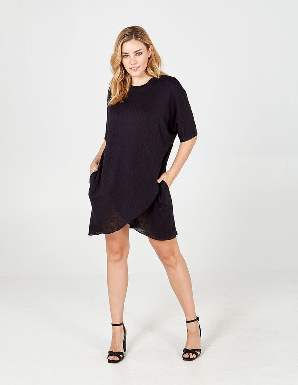 ELIZABETH - Black Oversized Asymmetric Pocket Tunic Dress